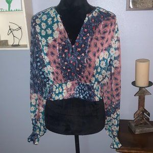NWT Urban Outfitters Sheer Floral Blouse